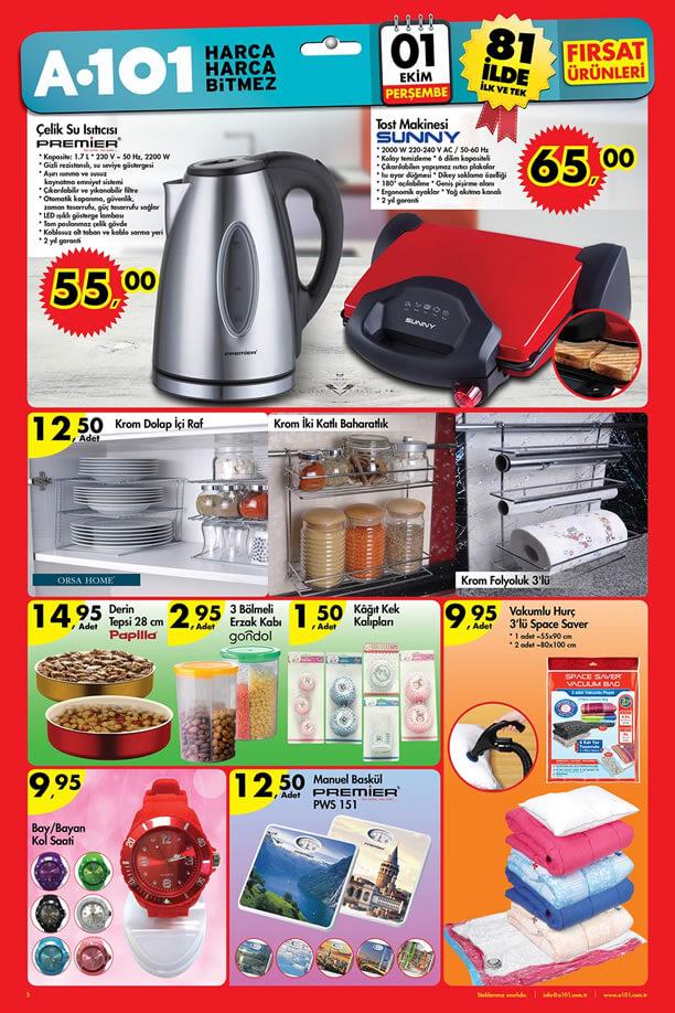 1 Ekim A101 Aktüel Ürünler Katalogu - Su Isıtıcısı - Tost Makinesi