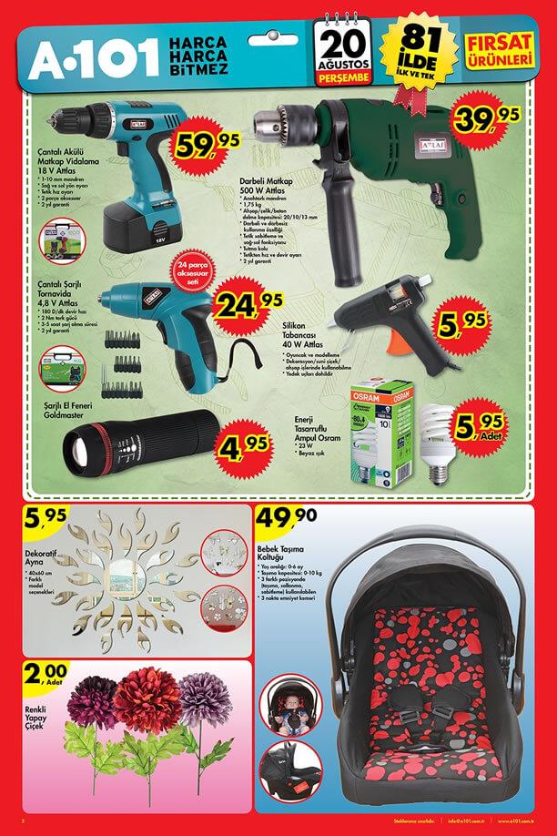 20 Ağustos A101 Aktüel Ürünler - Atlas Matkap - Bebek Taşıma koltuğu