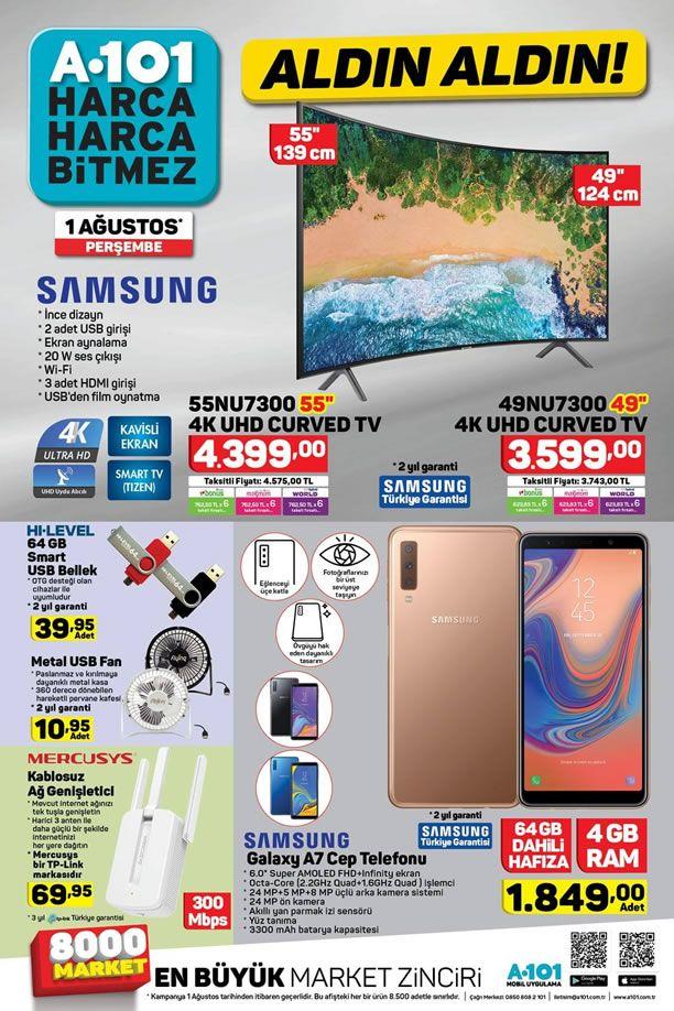 A101 1 Ağustos 2019 Kataloğu - Samsung Galaxy A7 Cep Telefonu
