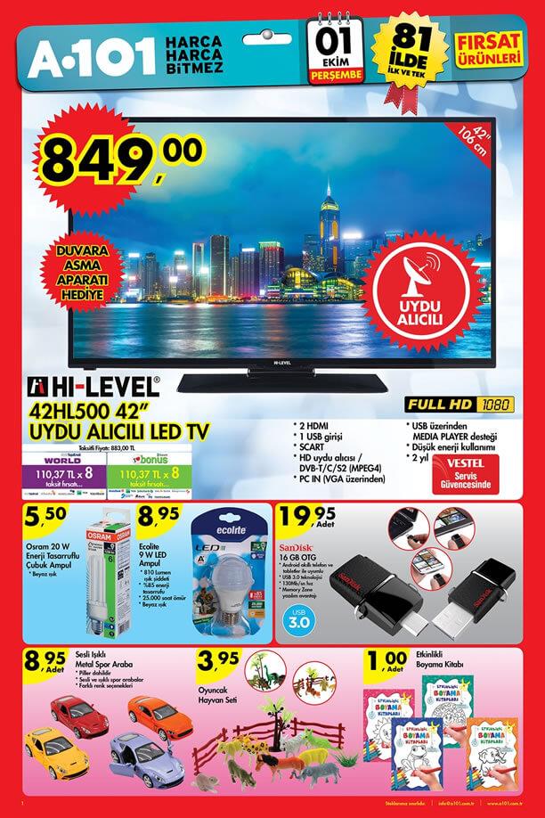 A101 1 Ekim 2015 Aktüel Ürünler Katalogu - HI-LEVEL 42HL500 Led Tv