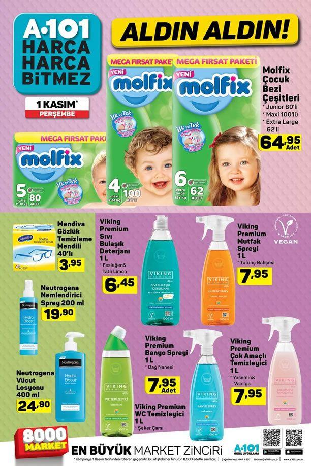 A101 1 Kasım 2018 Fırsat Ürünleri Kataloğu - Molfix Çocuk Bezi