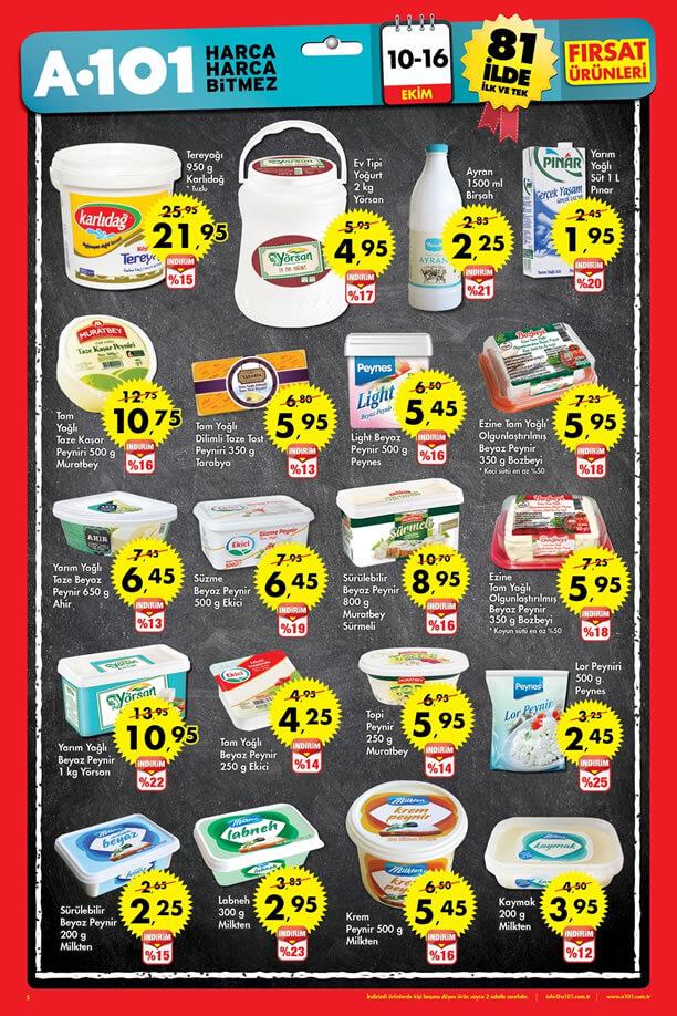 A101 10-16 Ekim 2016 Fırsat Ürünleri Katalogu - Süt Ürünleri