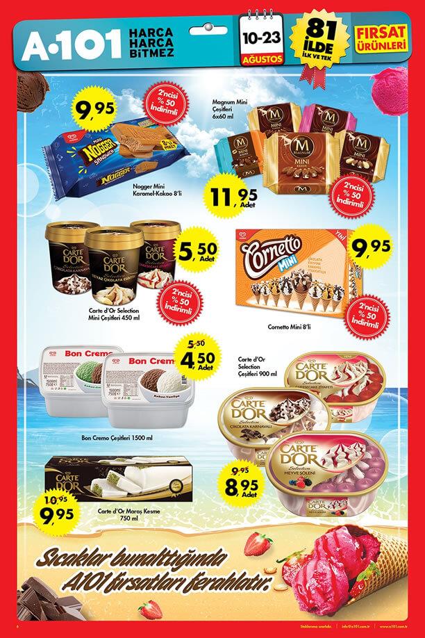 A101 10 23 Ağustos 2015 Aktüel ürünler Katalogu Dondurma Fiyatları