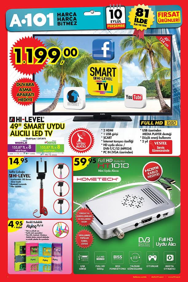 A101 10 Eylül 2015 Aktüel Ürünler Katalogu - HI-LEVEL Led Tv