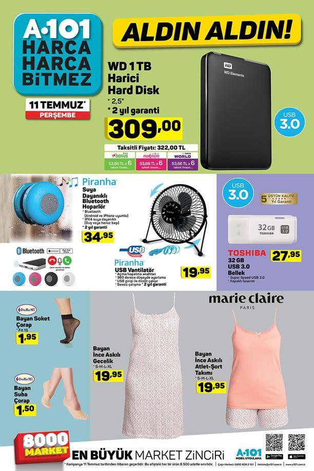 A101 11.07.2019 Perşembe Kataloğu - WD 1 TB Harici Hard Disk