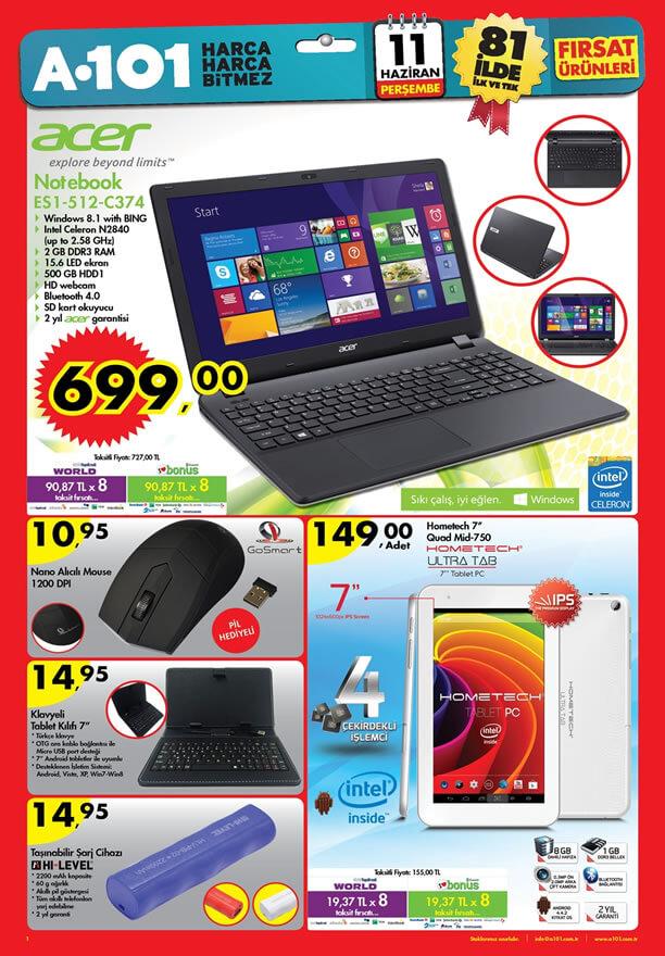 A101 11 Haziran 2015 Aktüel Ürünler Katalogu - Acer Notebook