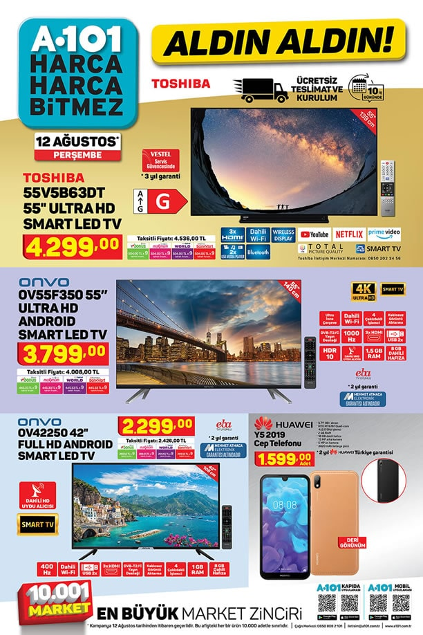 A101 12 Ağustos 2021 Kataloğu - Huawei Y5 2019 Cep Telefonu