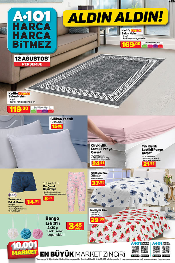 A101 12 Ağustos 2021 Perşembe Kataloğu - Kadife Salon Halısı