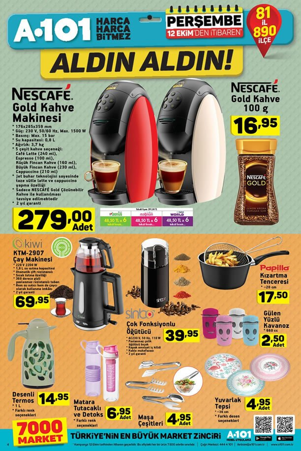 A101 12 Ekim 2017 Nescafe Gold Kahve Makinesi