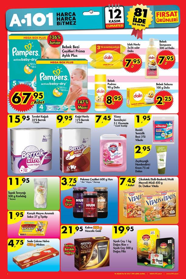 A101 12 Kasım 2016 Aktüel Ürünler Katalogu - Prima Plus Bebek Bezi