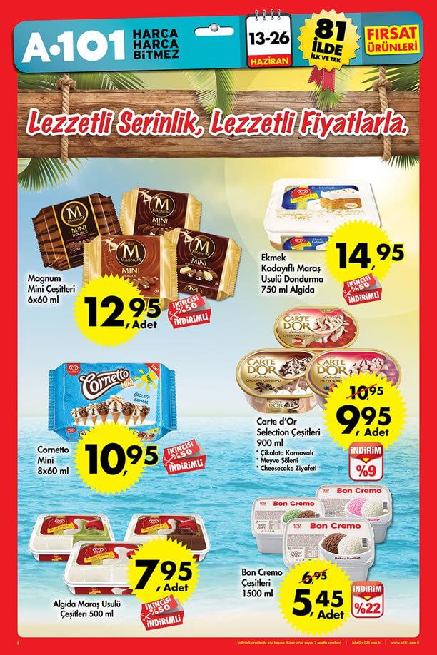 A101 13 26 Haziran 2016 Fırsat ürünleri Katalogu Algida Dondurma