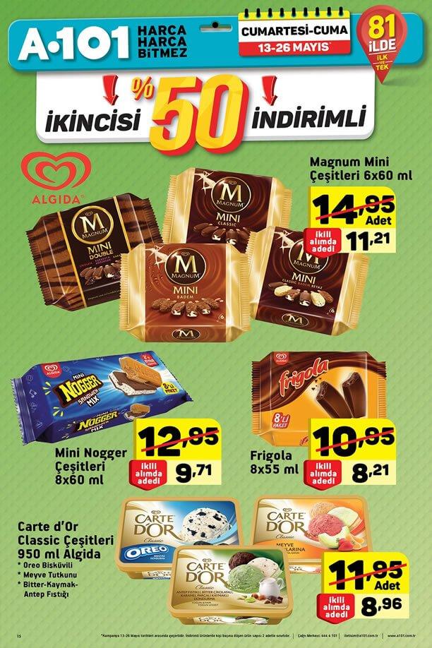 A101 13 Mayıs 2017 İkinci Üründe %50 İndirim - Dondurma