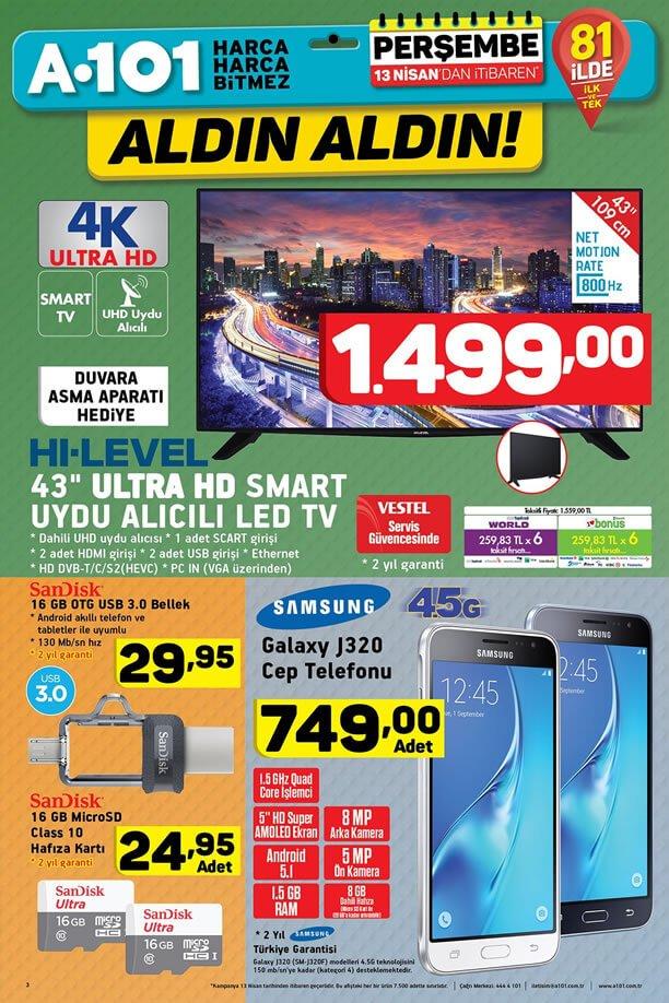 A101 13 Nisan 2017 Katalogu - Samsung J320 Cep Telefonu