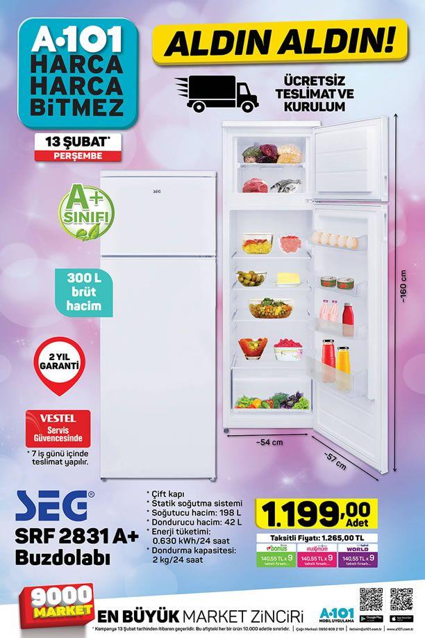 A101 13 Şubat 2020 Perşembe Aktüel Kataloğu - SEG Buzdolabı