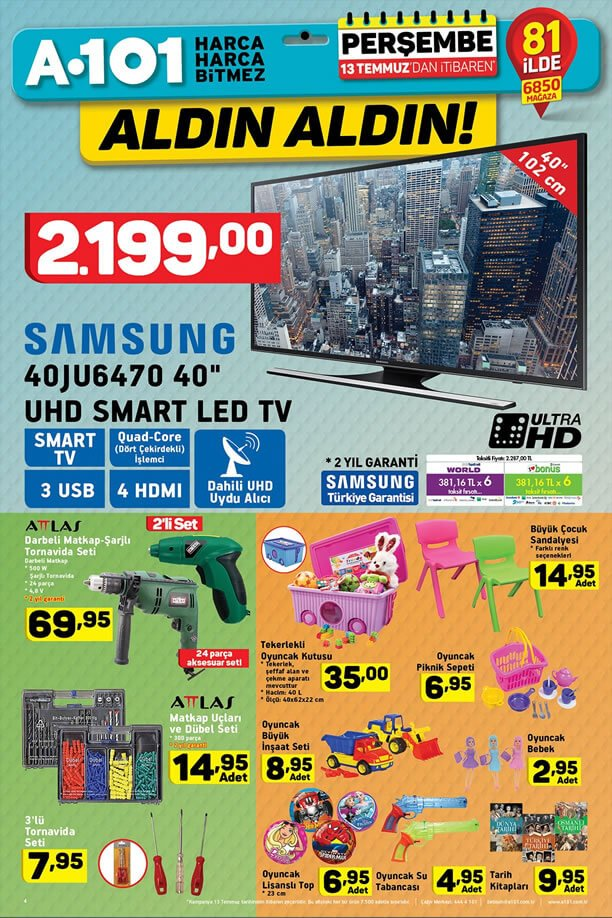 A101 13 Temmuz 2017 - Samsung UHD Smart Led Tv