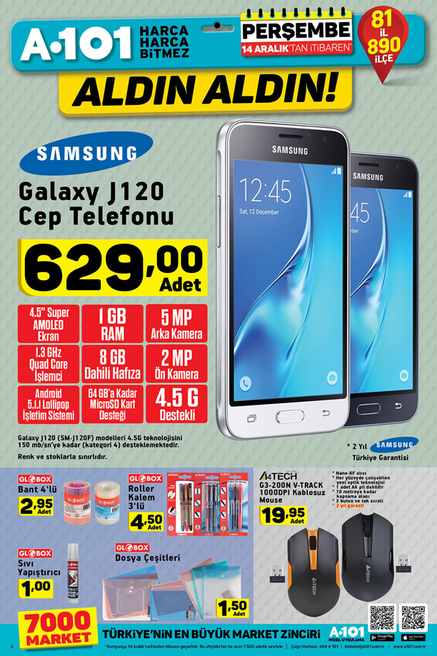 A101 14 - 20 Aralık 2017 İndirim Kataloğu - Samsung Galaxy J120