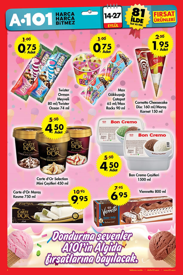 A101 14 27 Eylül 2015 Fırsat ürünleri Algida Dondurma