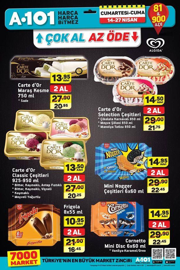 A101 14 - 27 Nisan 2018 Algida Dondurma Çok Al Az Öde Kampanyası
