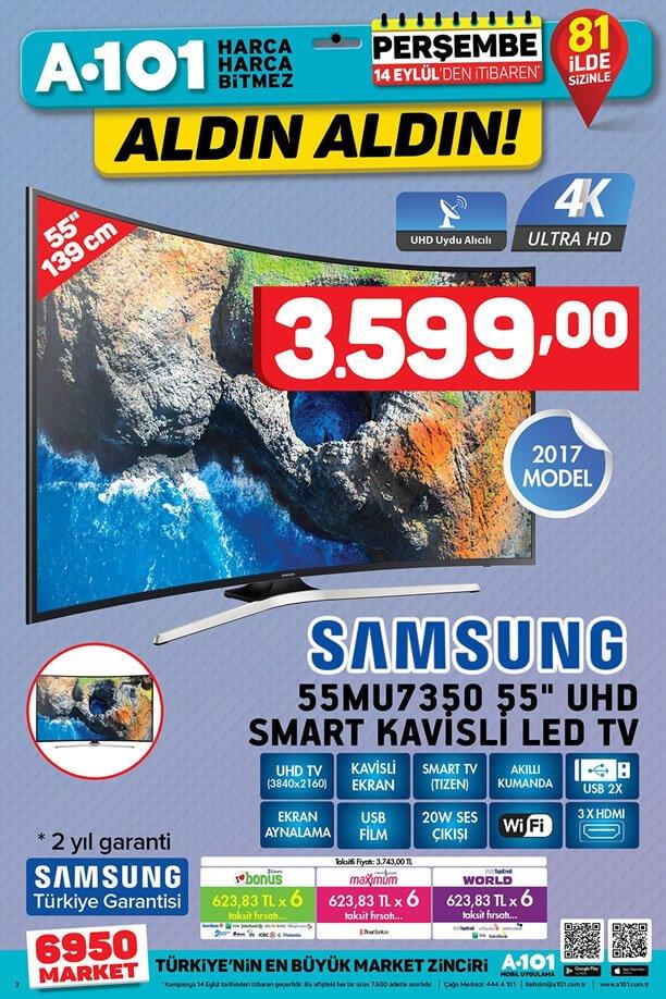 A101 14 Eylül 2017 - Samsung Kavisli Led Tv