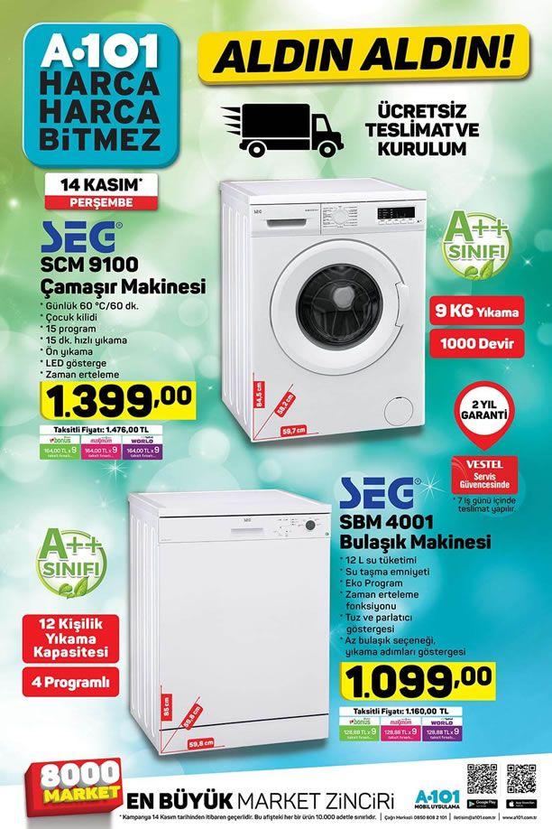 A101 14 Kasım 2019 Kataloğu - SEG Çamaşır ve Bulaşık Makinesi