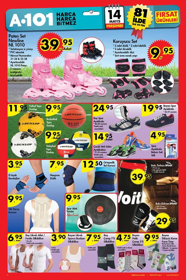 A101 14 Mayıs 2015 Aktüel Ürünler Katalogu - Spor Malzemeleri - Paten