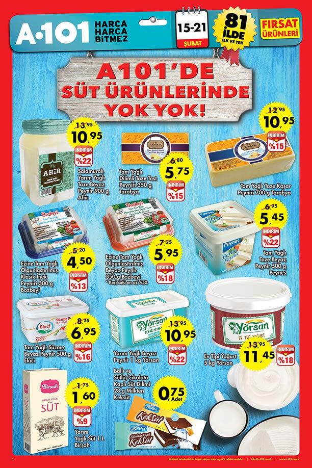 A101 15-21 Şubat 2016 Fırsatları Katalogu - Süt Ürünleri
