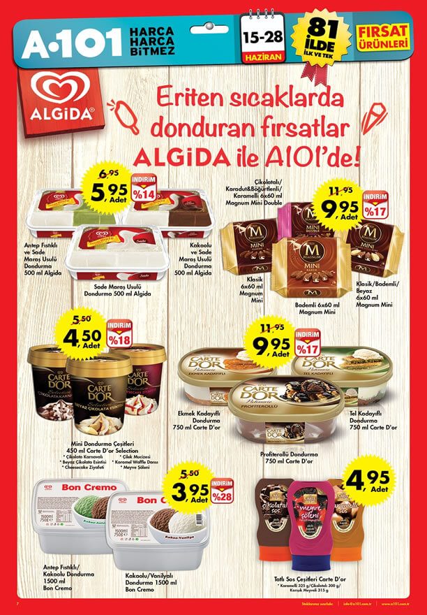 A101 15 28 Haziran 2015 Fırsat ürünleri Algida