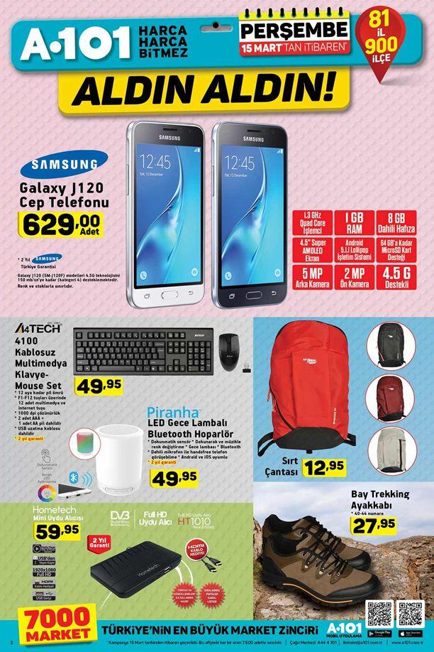A101 15 Mart 2018 Katalogu - Samsung Galaxy J120 Cep Telefonu