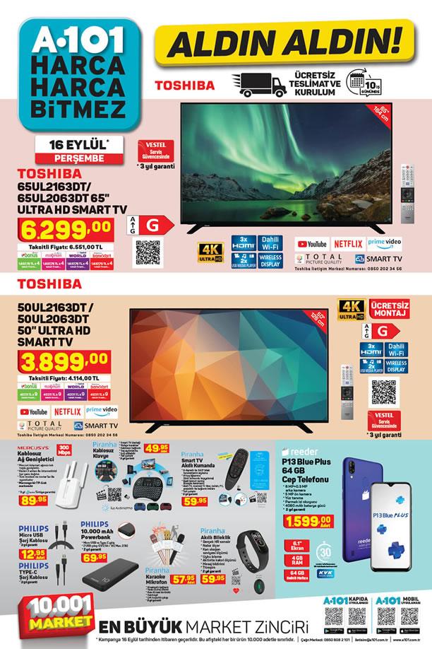 A101 16 Eylül 2021 Aktüel Kataloğu - Toshiba Ultra HD Smart TV