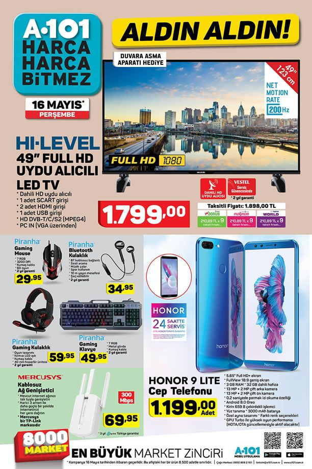 A101 16 Mayıs 2019 Kataloğu - Honor 9 Lite Cep Telefonu