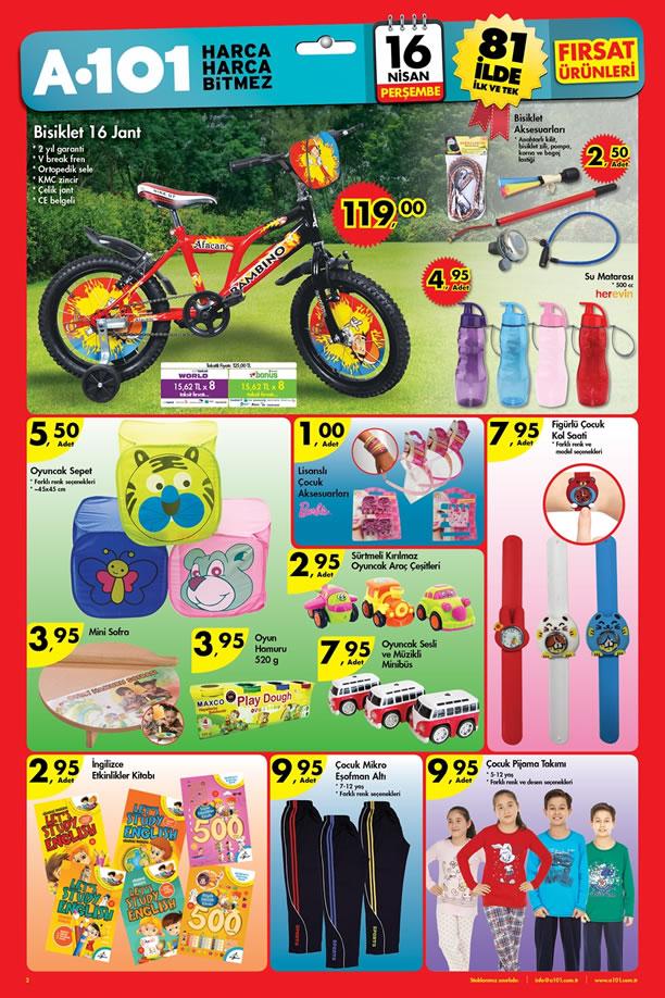 A101 16 Nisan 2015 Aktüel Ürünler Kataloğu - Afacan Bisiklet