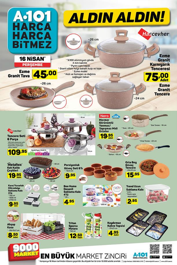 A101 16 Nisan 2020 Aldın Aldın Kataloğu - Mutfak Malzemeleri