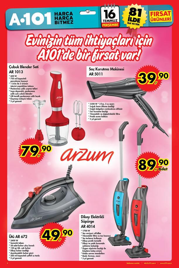 A101 16 Temmuz 2015 Aktüel Ürünler Katalogu - Arzum