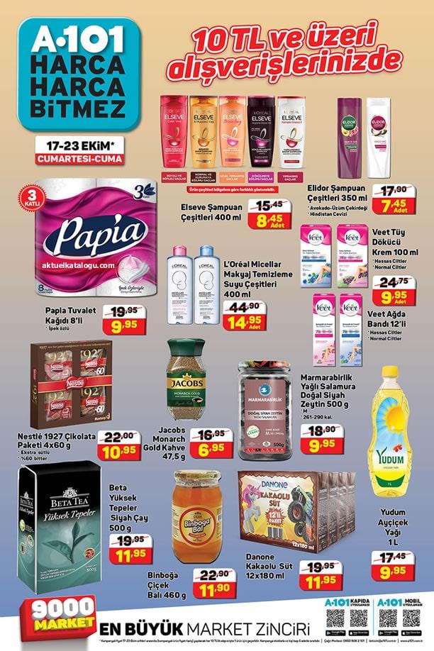 A101 17 - 23 Ekim 2020 10 TL ve Alışverişlerde İndirimli Ürünler