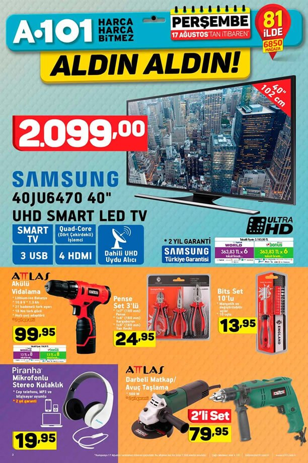 A101 17 Ağustos - Samsung Smart Led Tv