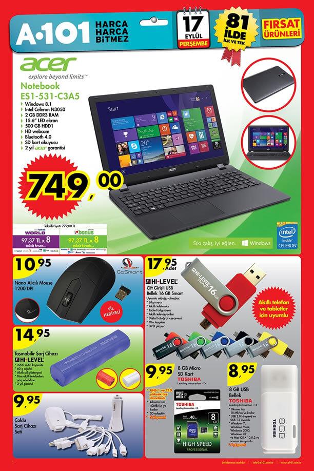 A101 17 Eylül 2015 Aktüel Ürünler Katalogu - Acer Notebook