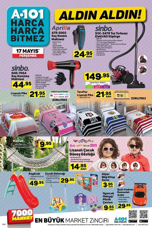 A101 17 Mayıs 2018 Kataloğu - Sinbo Toz Torbasız Elektrikli Süpürge