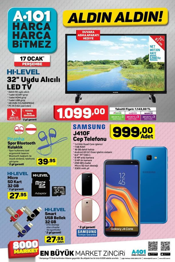 A101 17 Ocak 2019 Aktüel Kataloğu - Samsung J410F Cep Telefonu