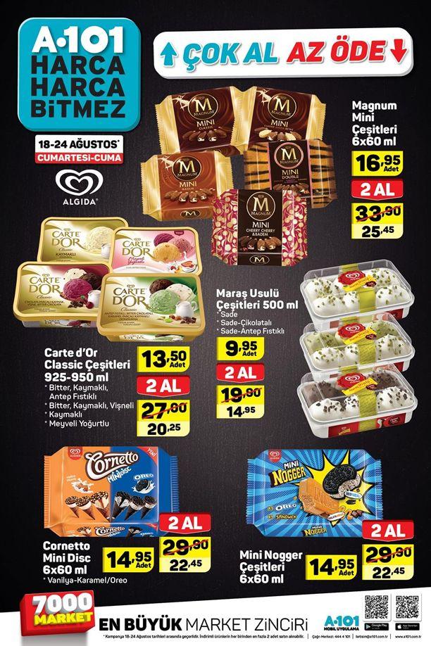 A101 18 - 24 Ağustos 2018 Dondurma Fiyatları