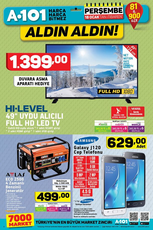 A101 18 Ocak 2018 Katalogu - Samsung Galaxy J120 Cep Telefonu