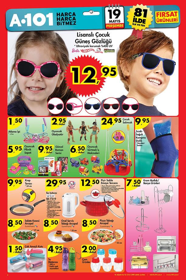 A101 19-25 Mayıs 2016 İndirim Katalogu - Çocuk Güneş Gözlüğü