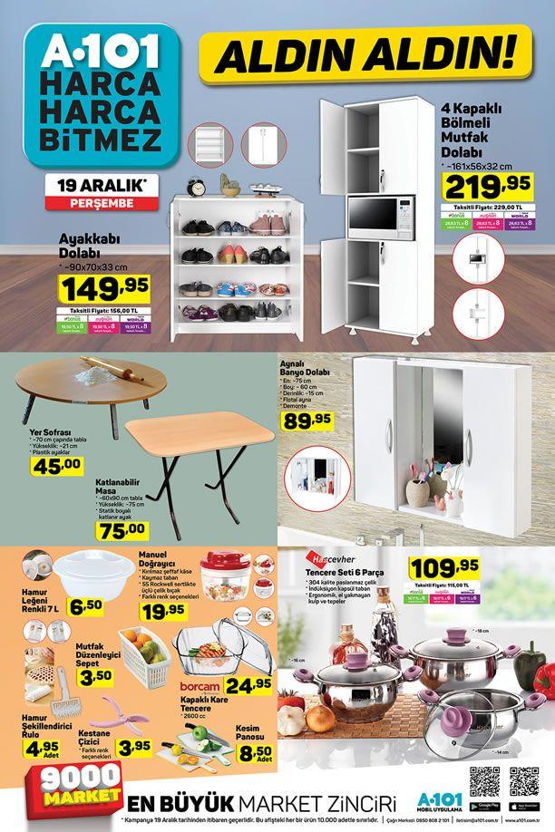 A101 19 Aralık 2019 Aktüel Kataloğu - 4 Kapaklı Bölmeli Mutfak Dolabı