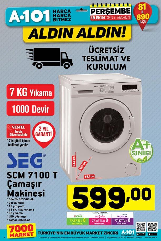 A101 19 Ekim 2017 Aktüel Kataloğu - SEG Çamaşır Makinesi