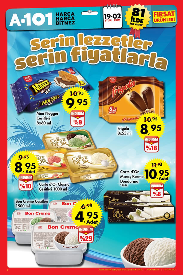 A101 19 Eylül - 2 Ekim 2016 Fırsatları Katalogu - Dondurma Fiyatları