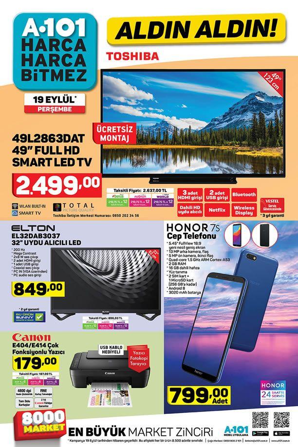 A101 19 Eylül 2019 Aktüel Kataloğu - Honor 7S Cep Telefonu