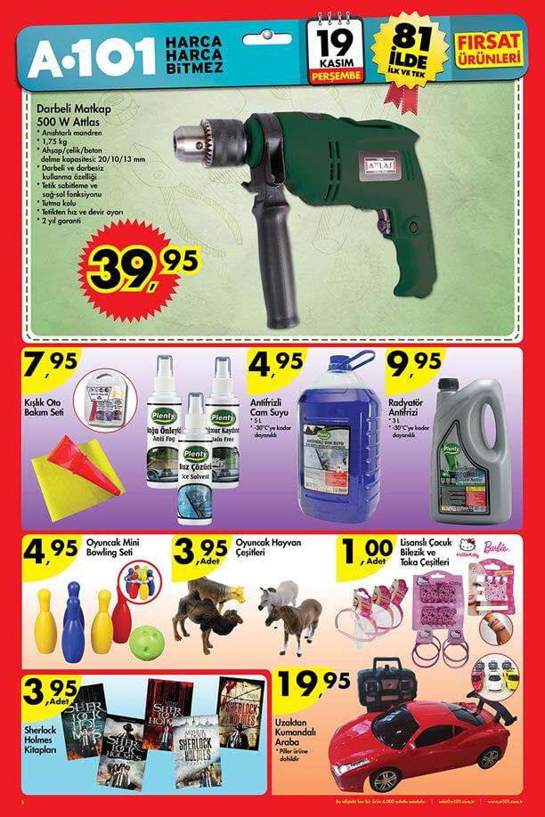 A101 19 Kasım 2015 Fırsat Ürünleri Katalogu - Attlas Darbeli Matkap