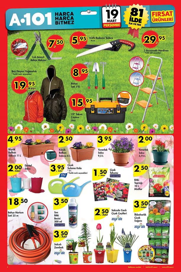 A101 19 Mart 2015 Aktüel Ürünler Kataloğu Bahçe - Çiçek