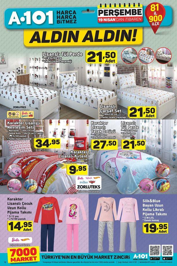 A101 19 Nisan 2018 İndirim Kataloğu - Ev Tekstili