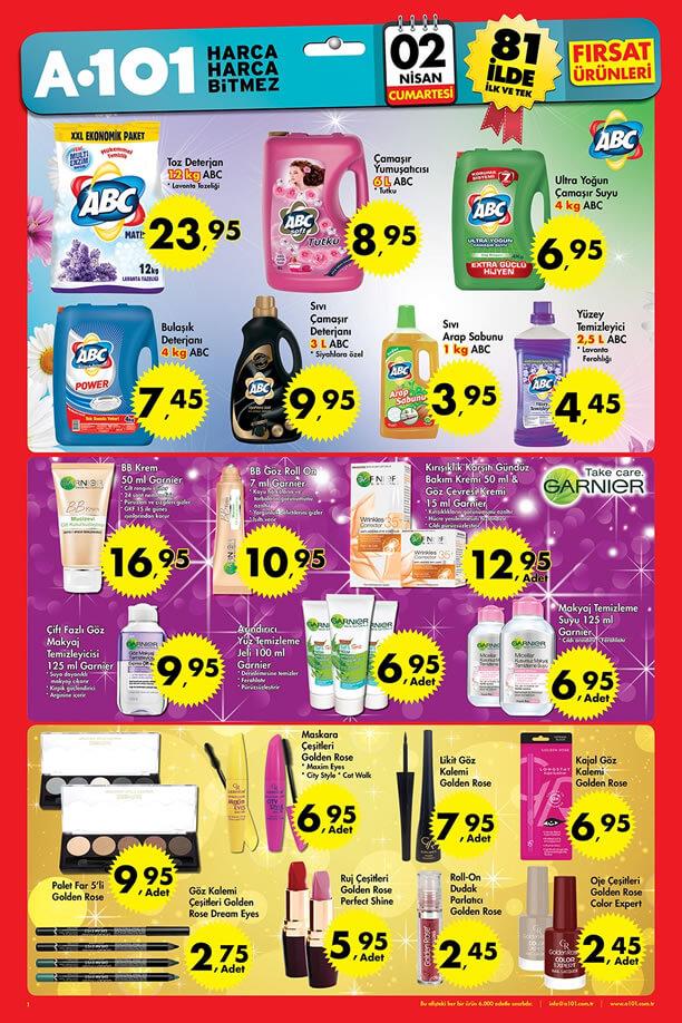A101 2 Nisan 2016 Cumartesi Fırsatları Katalogu - ABC Temizlik Ürünleri