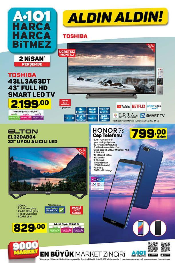 A101 2 Nisan 2020 Aktüel Ürün Kataloğu - Honor 7S Cep Telefonu